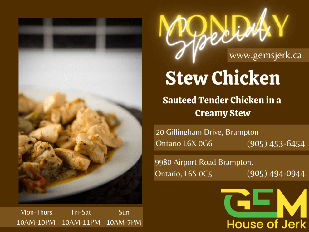 Monday Special - Stew Chicken - Sauteed tender chicken in a creamy stew